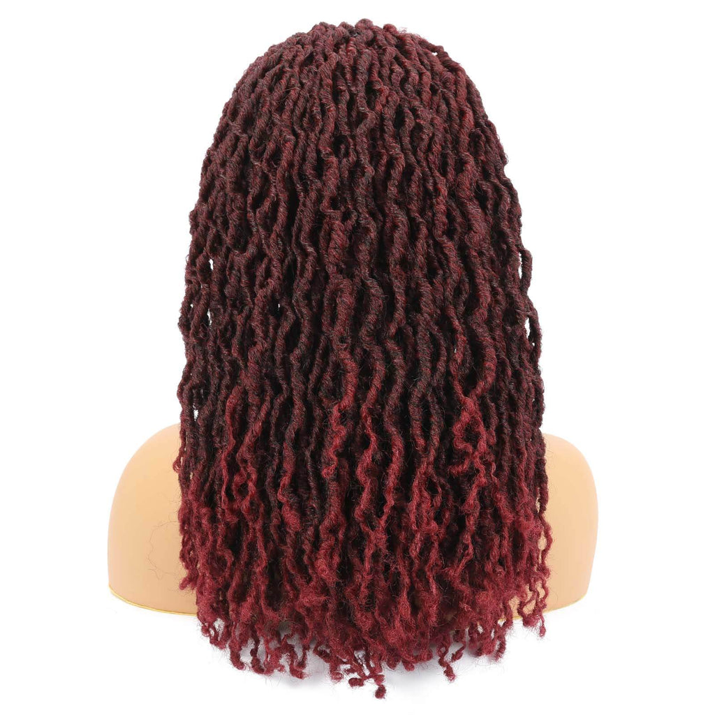 Nu Locs Headband Wigs for Black Women Burgundy Red Color Braided Wigs Back Show