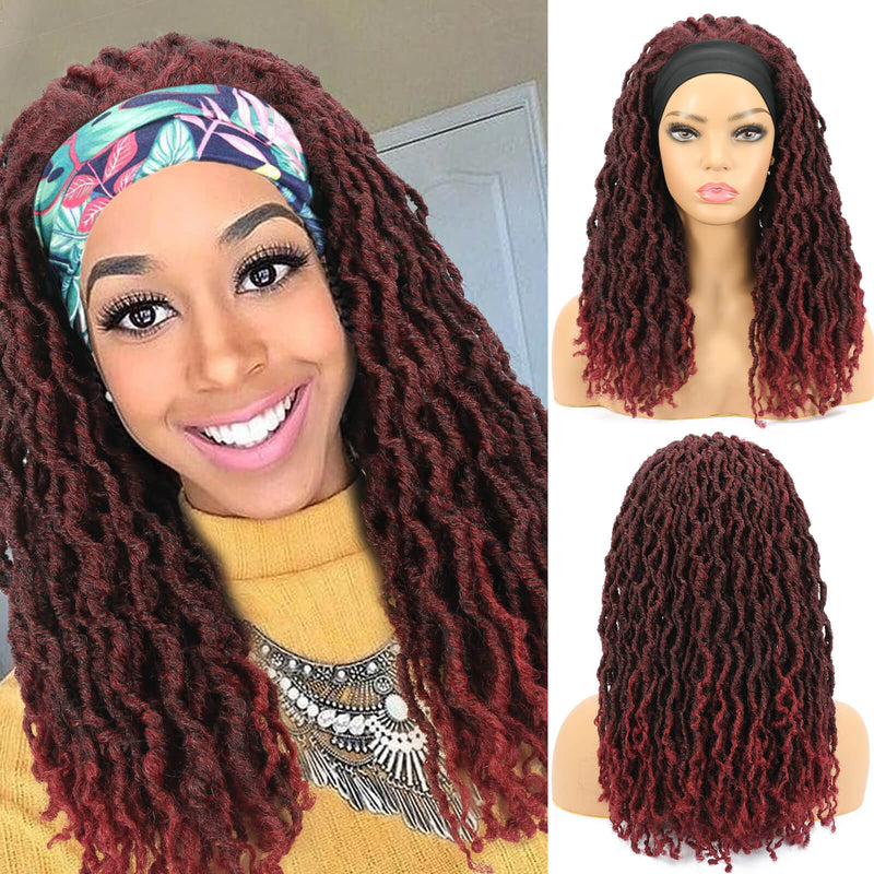 Nu Locs Headband Wigs for Black Women Burgundy Red Color Braided Wigs
