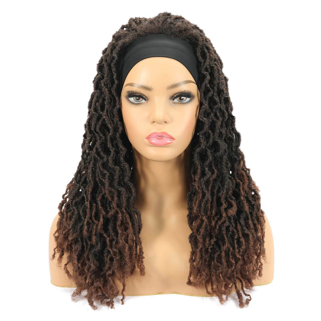 Nu Locs Headband Wigs for Black Women Red Brown Color Braided Wigs Front Show
