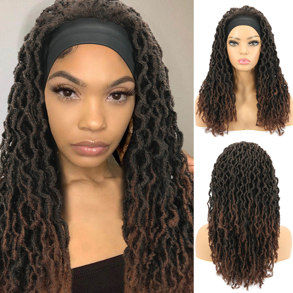 Nu Locs Headband Wigs for Black Women Red Brown Color Braided Wigs