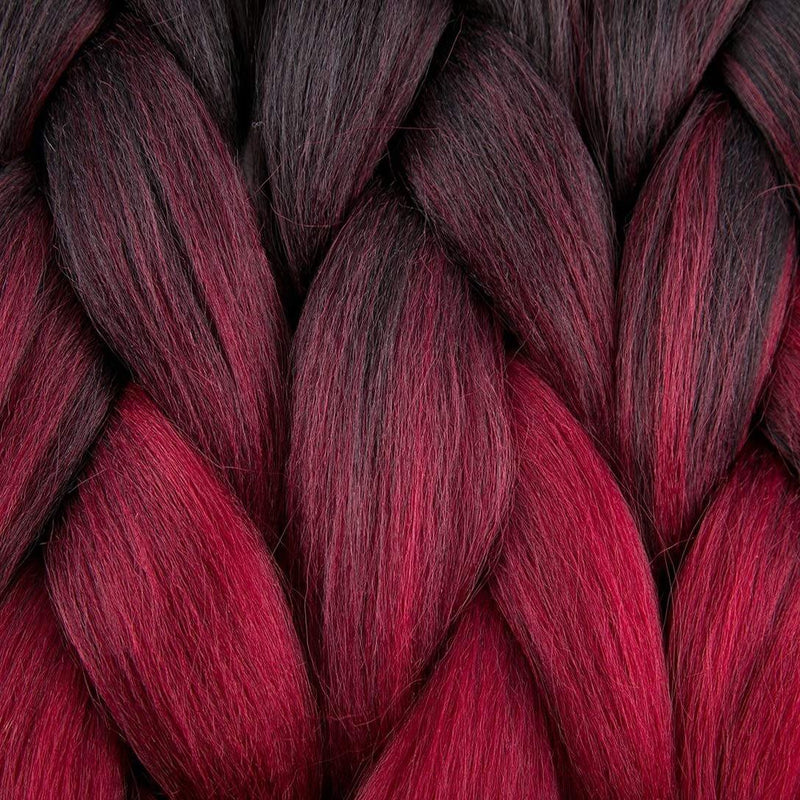 Ombre Braiding Hair Synthetic Jumbo Braids Hair Extensions 3 Tone Color Black/Burgundy/Red
