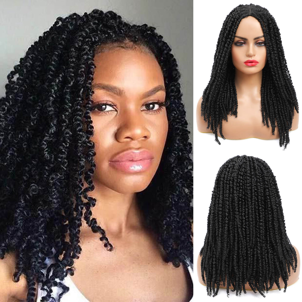 Passion Twist Braided Wigs For Black Women Black Wig
