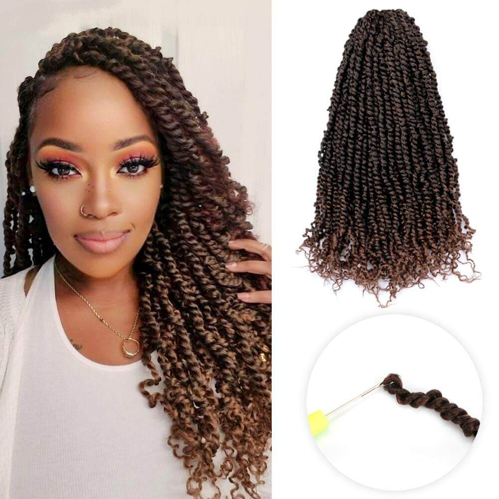 Passion Twist Hair Ombre Brown Synthetic Braided Hair Extension