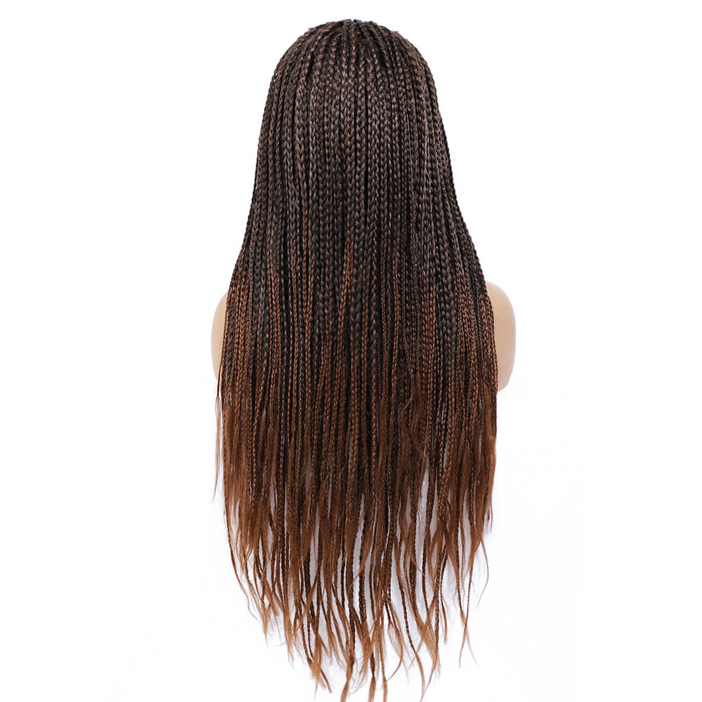 Rosebony Box Braided Wigs for Black Women 24 Inch 1b 30 Red Brown Back View