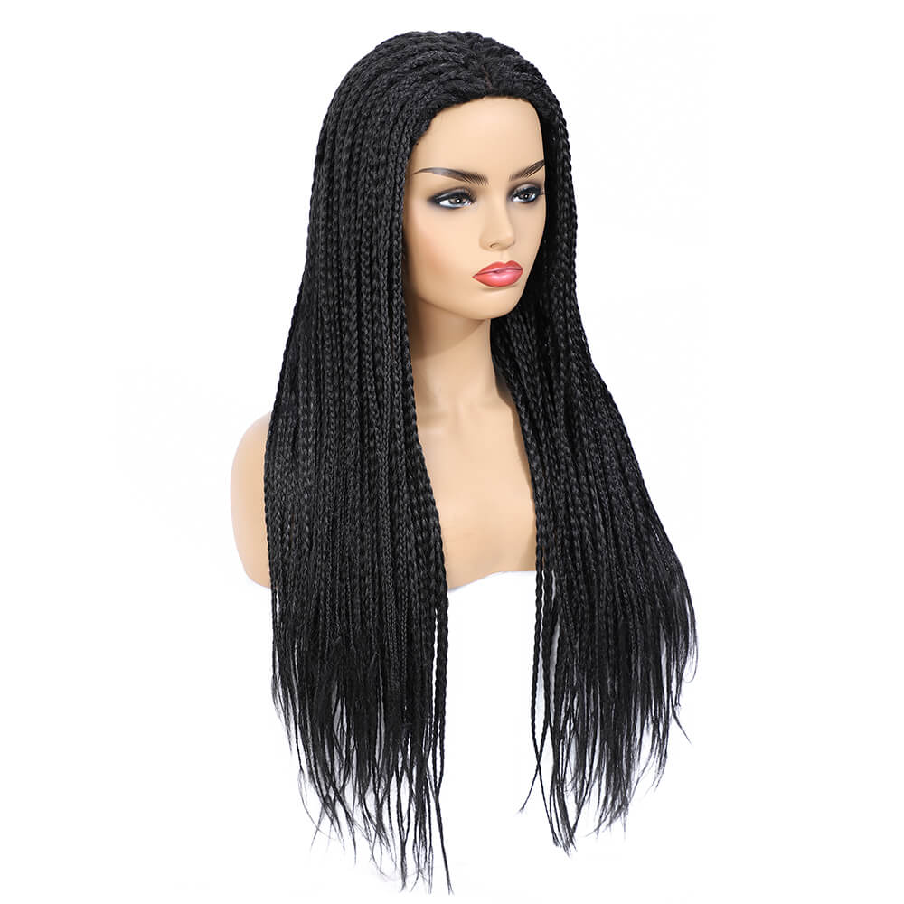 Rosebony Box Braided Wigs for Black Women 24 Inch Black Color Side View