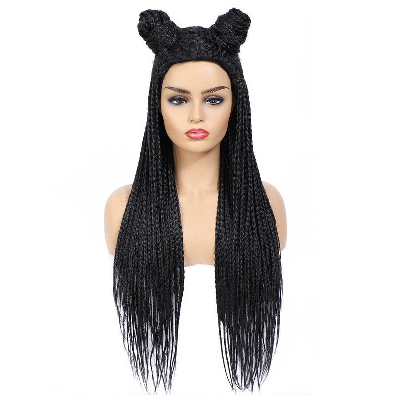 Box Braided Wigs for Black Women Long Micro Braids Fake Scalp Wig Black Color
