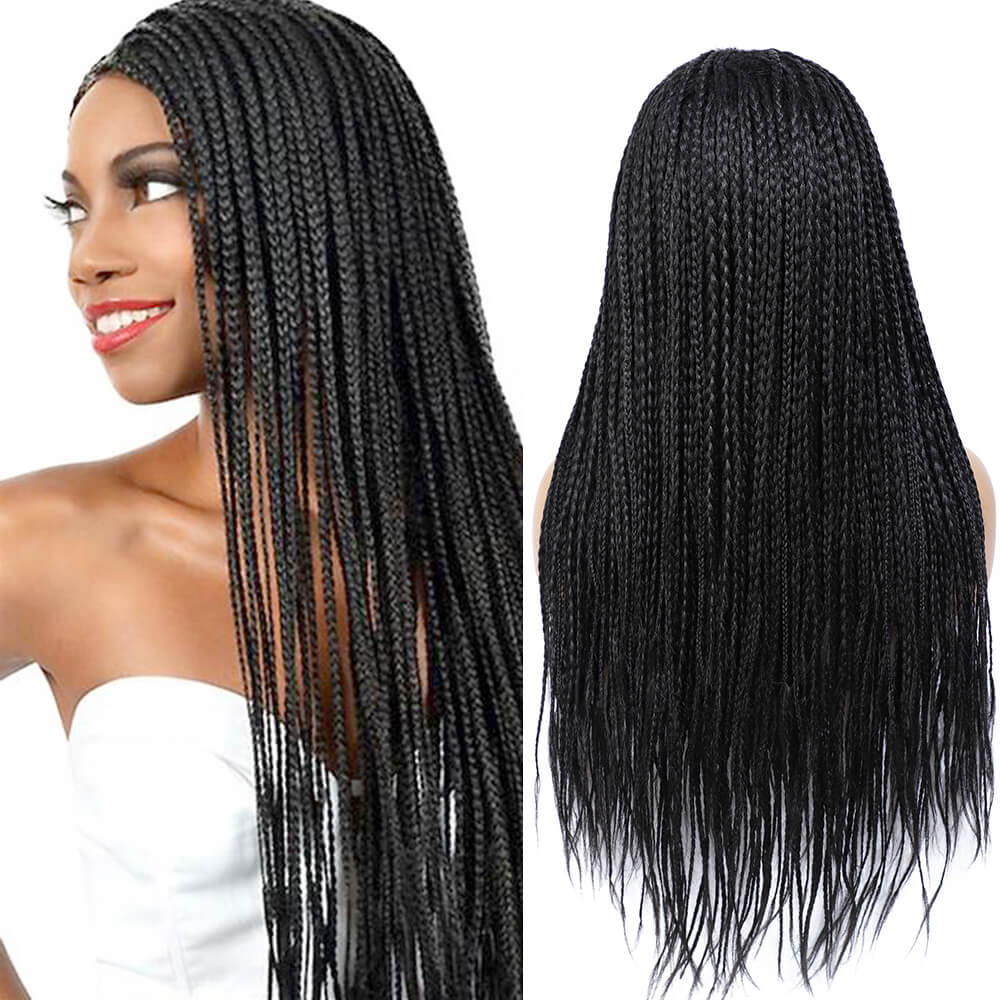 Rosebony Box Braided Wigs for Black Women 24 Inch