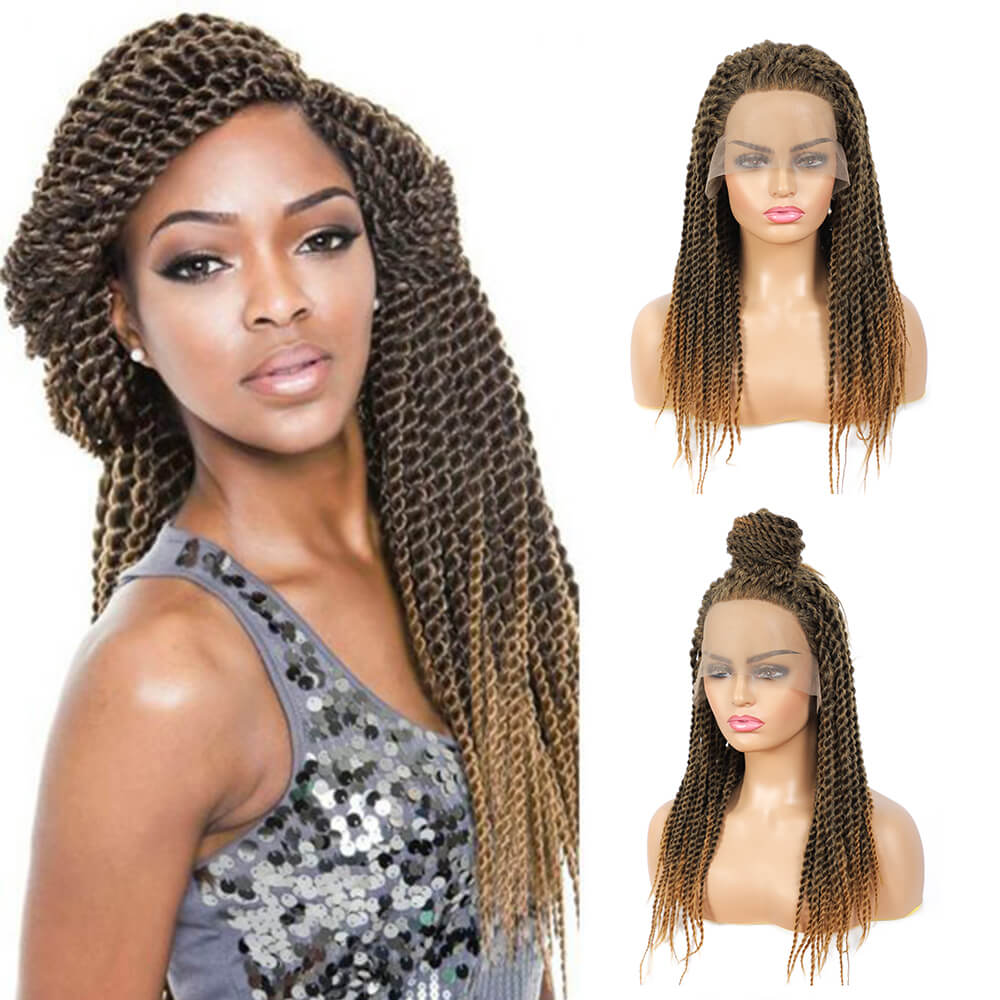 Senegalese Twist Briaded Lace Front Wigs Synthetic 27 22inch