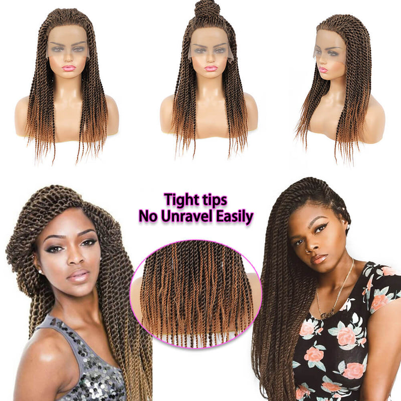 Senegalese Twist Briaded Lace Front Wigs Synthetic 30 Tight Tips