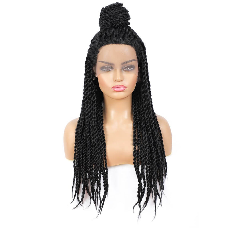 Senegalese Twist Briaded Lace Front Wigs Synthetic With Ponytail