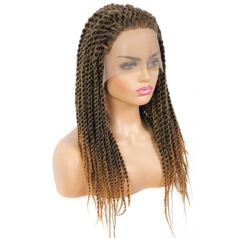 Senegalese Twist Briaded Lace Front Wigs Synthetic #27 Brown Back Side