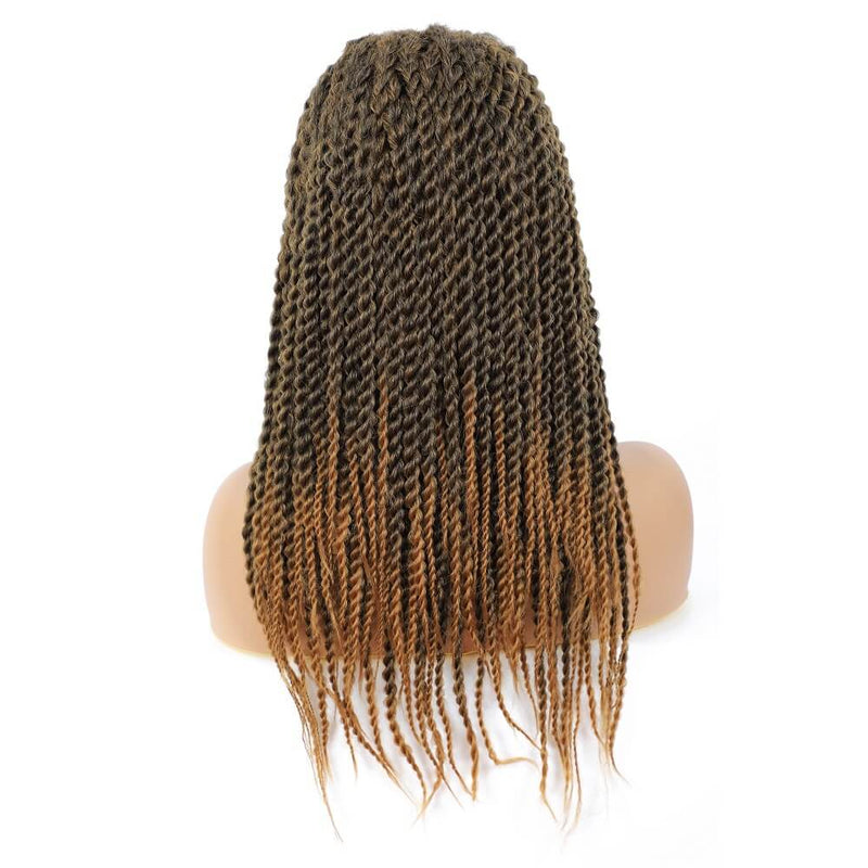 Senegalese Twist Briaded Lace Front Wigs Synthetic #27 Brown Back