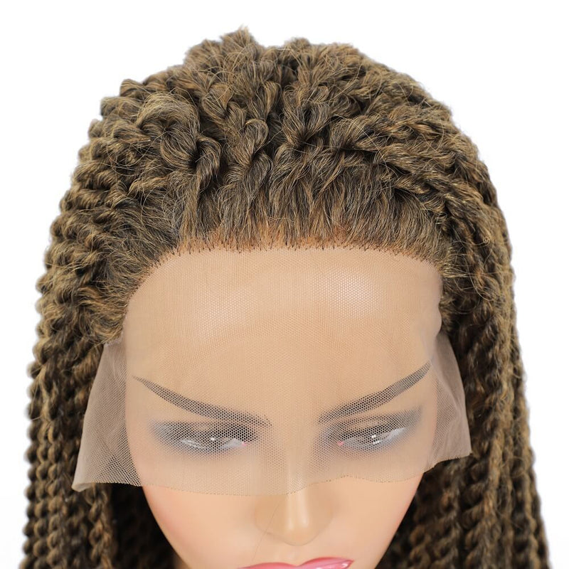 Senegalese Twist Briaded Lace Front Wigs Synthetic #27 Brown Hairline
