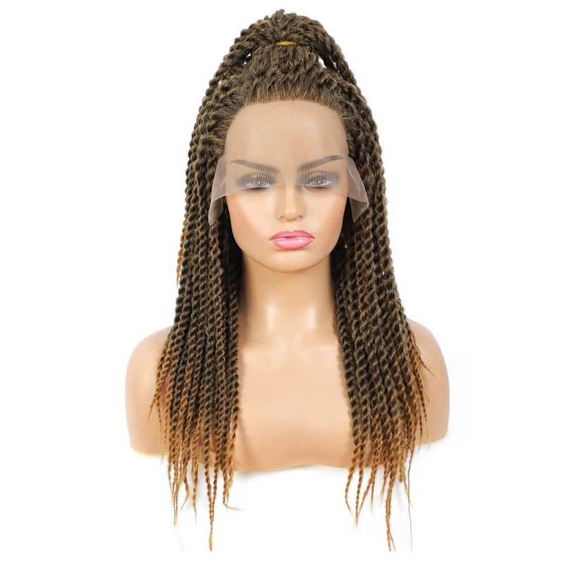 Senegalese Twist Briaded Lace Front Wigs Synthetic #27 Brown With Ponytail