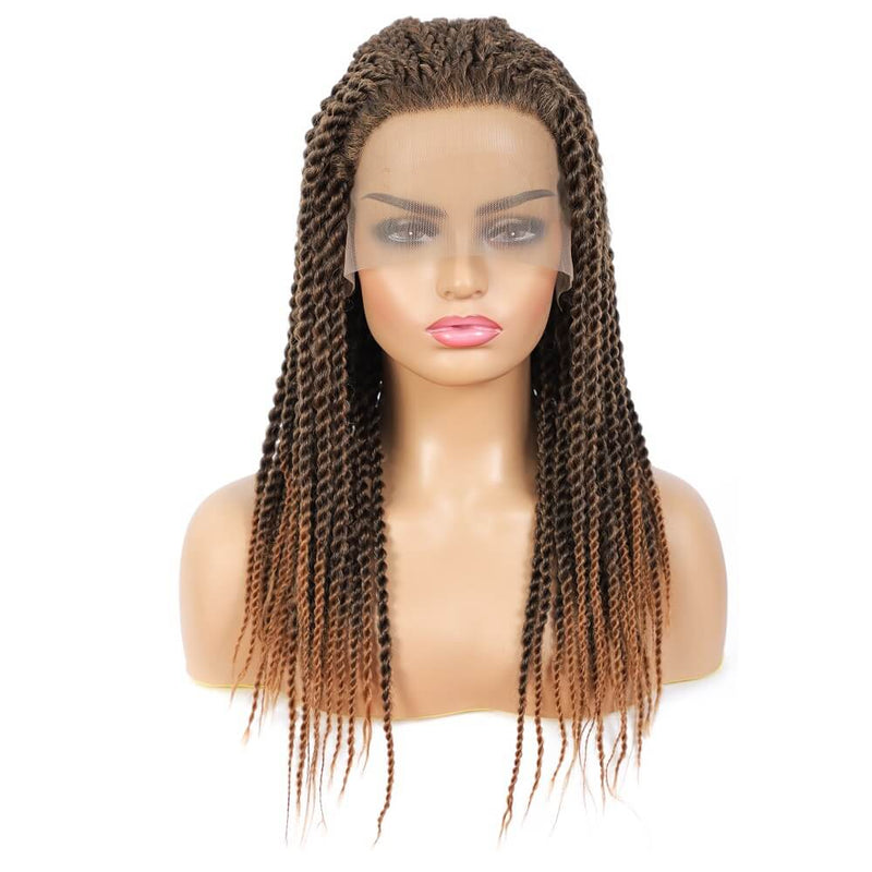 Senegalese Twist Briaded Lace Front Wigs Synthetic #30 Brown Front