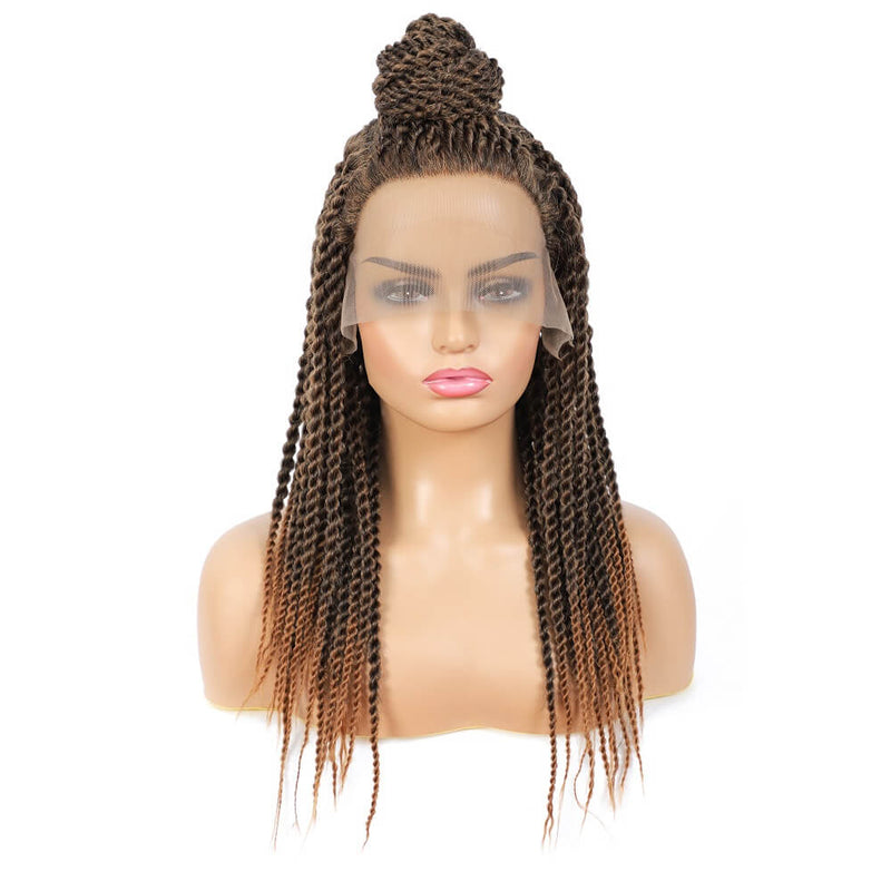 Senegalese Twist Briaded Lace Front Wigs Synthetic #30 Brown With High Tail