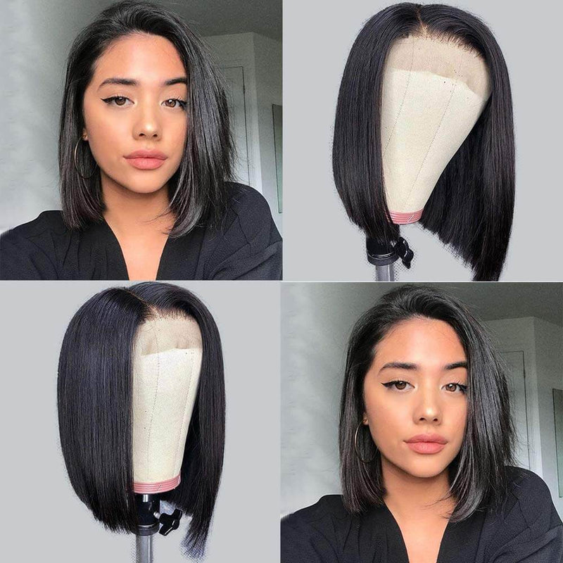Straight Bob Lace Front Wigs Human Hair Customer Show