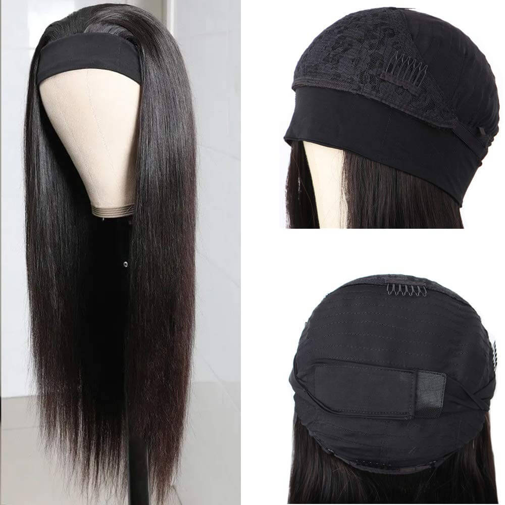 Straight Hair Headband Wigs For BLack Women Real Product Show