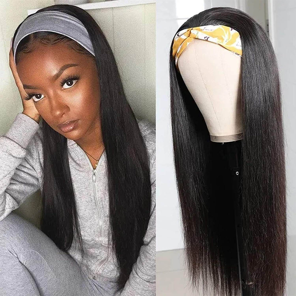 Straight Hair Headband Wigs For BLack Women