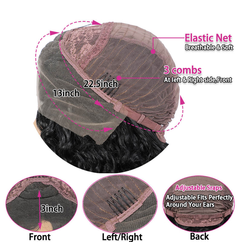 Synthetic Water Wave Lace Front Wigs Cap Show