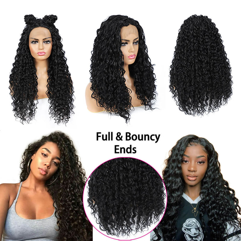 Synthetic Water Wave Lace Front Wigs Full Ends