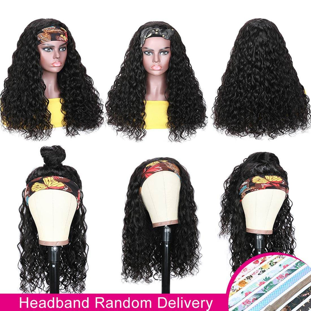Water Wave Headband Wigs For Black Women Human Hair Product Show