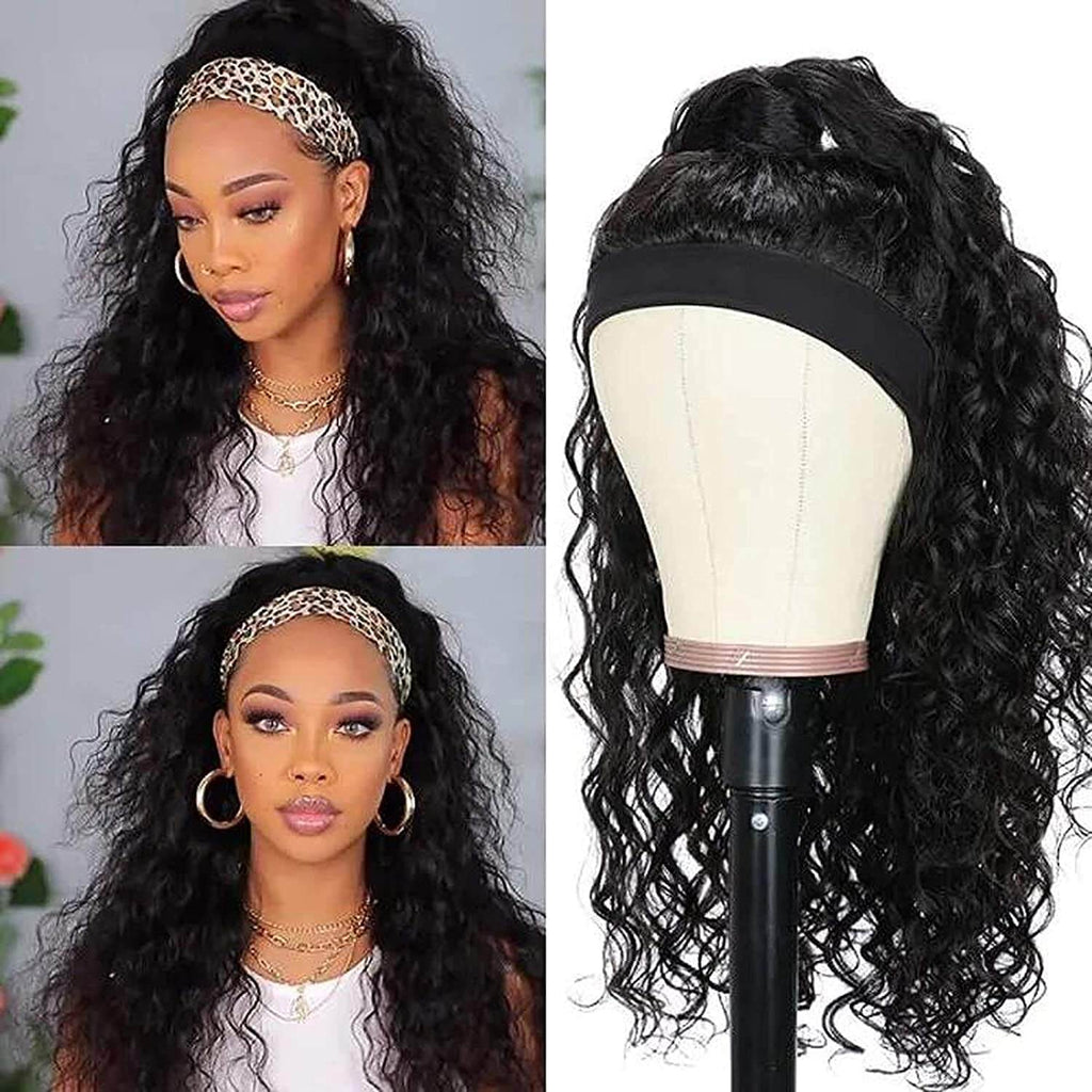 Water Wave Headbang Wigs For Black Women Human Hair