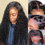 Water Wave Lace Closure Wig Human Hair Wigs For Black Women Baby Hair Show