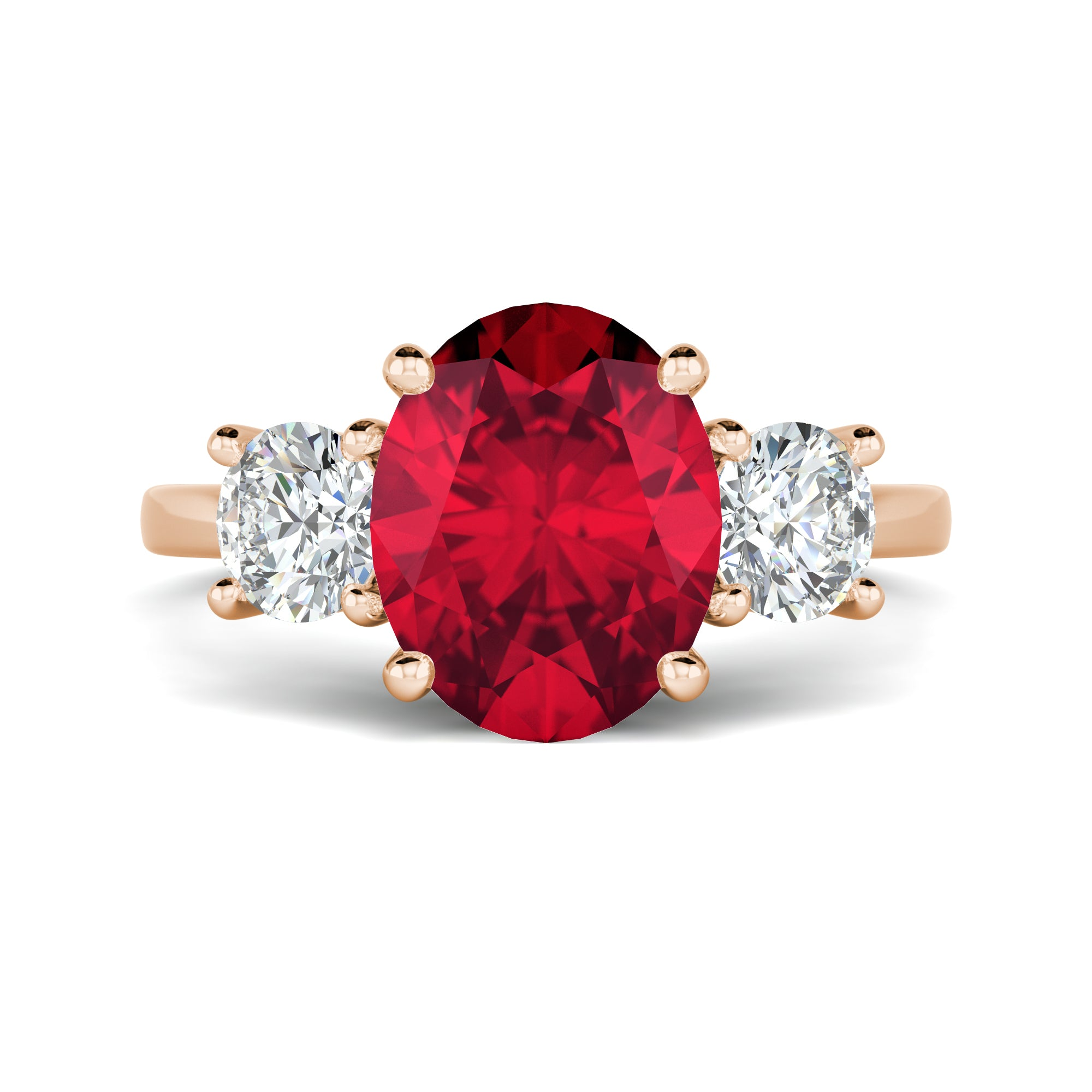 Oval Ruby Engagement Ring with Side Round Diamonds
