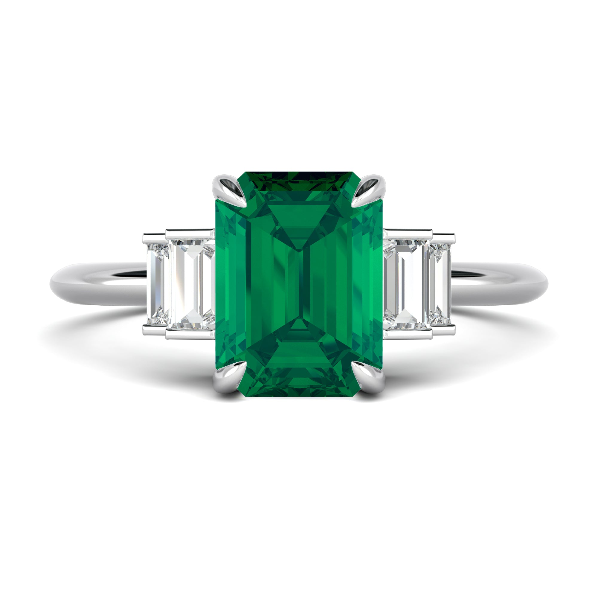 Emerald Engagement Ring with Side Baguette Diamonds