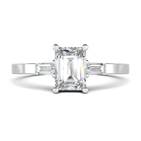 Emerald cut engagement ring with side-baguette diamonds