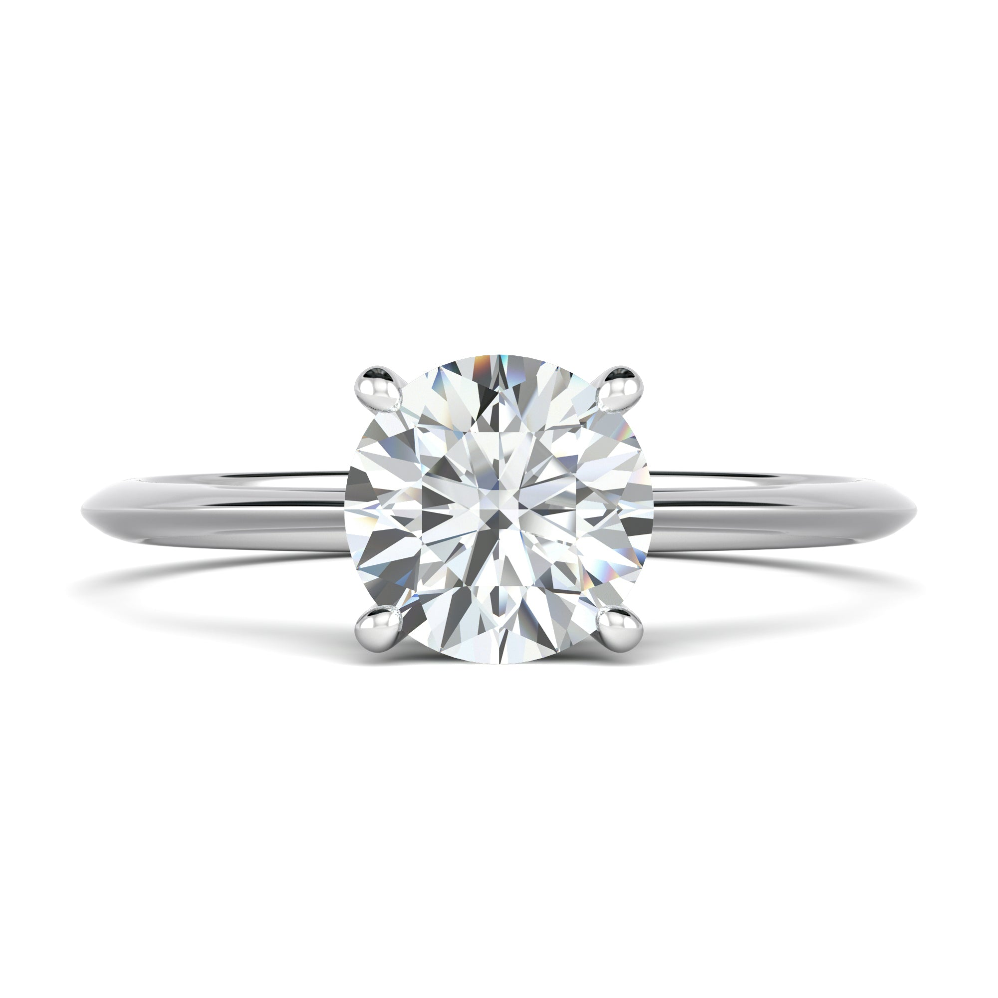Tapered solitaire round diamond engagement ring