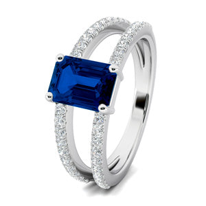 Double Band Sapphire Engagement Ring