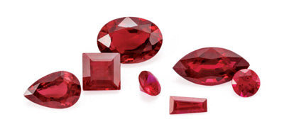 Rubies in different shapes
