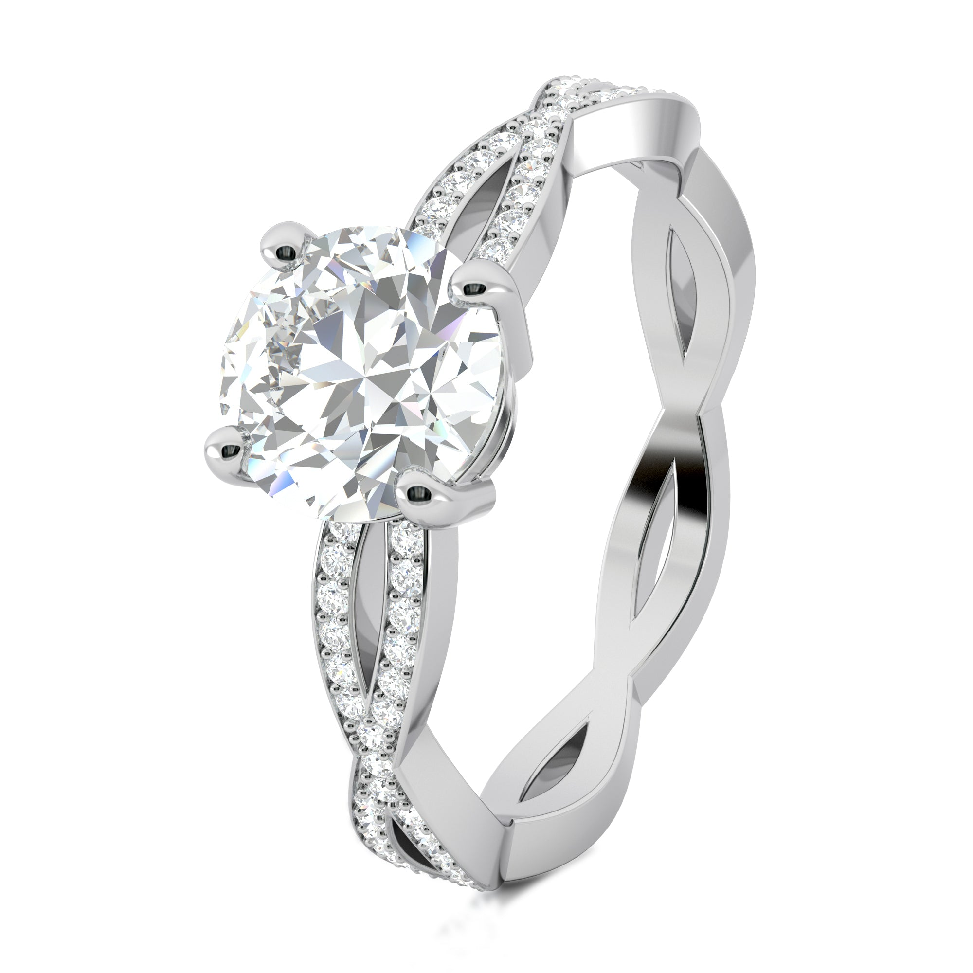 Bead setting engagement ring