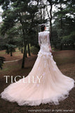 White / Champagne Color Wedding Dress Eva (w325)