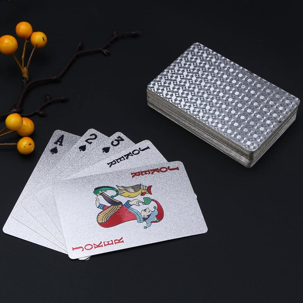 Luxury Diamond Playing Cards LuckCharmer Silver