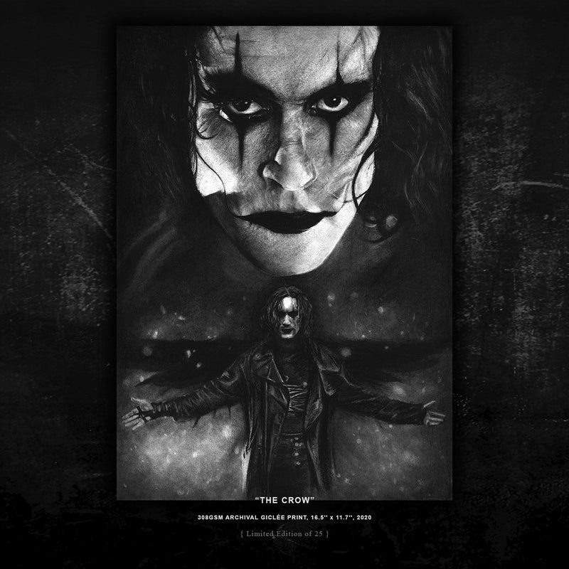 BRANDON LEE 'THE CROW' - { LIMITED EDITION PRINT 25 } - ARCHIVAL GICLÉE PRINT