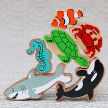 Load image into Gallery viewer, Sealife Wooden Shape Puzzle