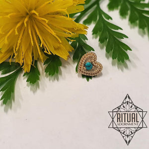 Milgrain Heart - 14k Yellow Gold / Turquoise
