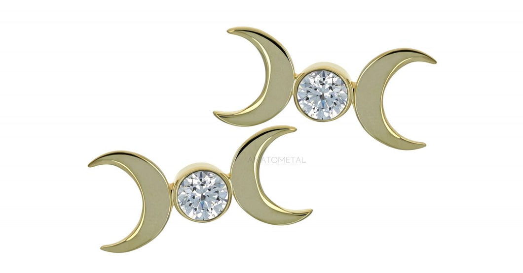 Triple Goddess Moon - 18k Yellow Gold