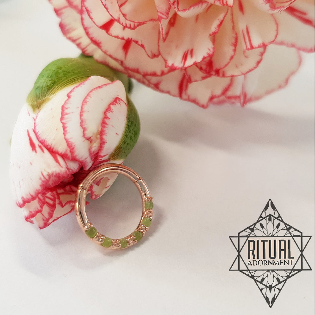 Hinged Ring - Natural Jade w/ 14k Rose Gold