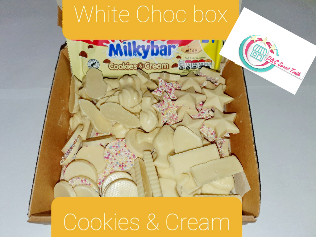 White choc box - cookies and cream