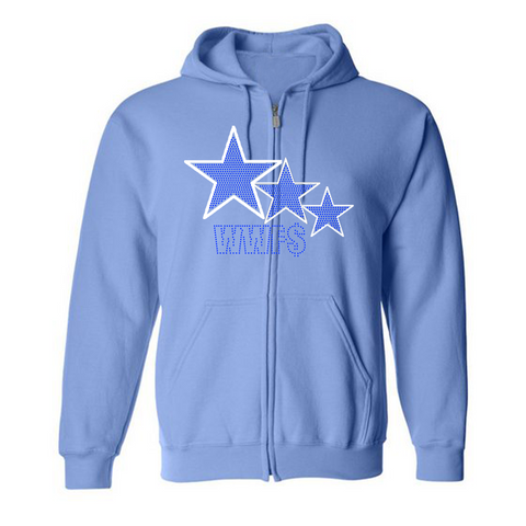 "WWF$- Blue ""3-star"" rhinestone zip up"