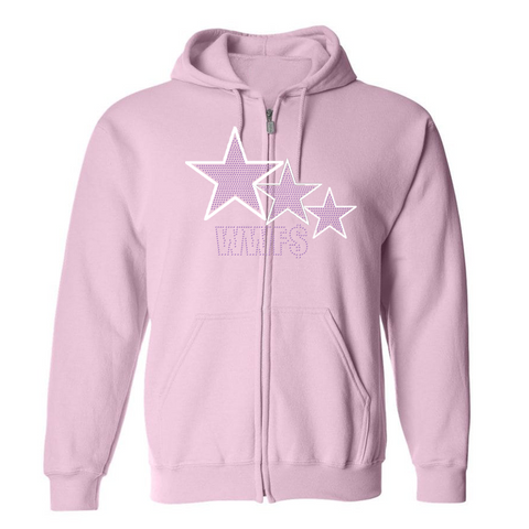 "WWF$- Pink ""3-star"" rhinestone zip up"
