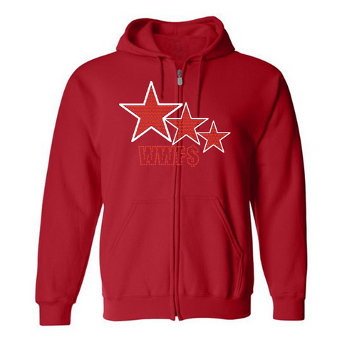 "WWF$- Red ""3-star"" rhinestone zip up"