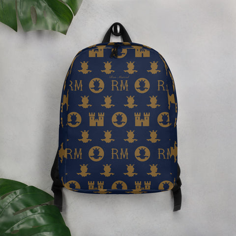 Ron Marcel Minimalist Monogram Backpack [Navy]