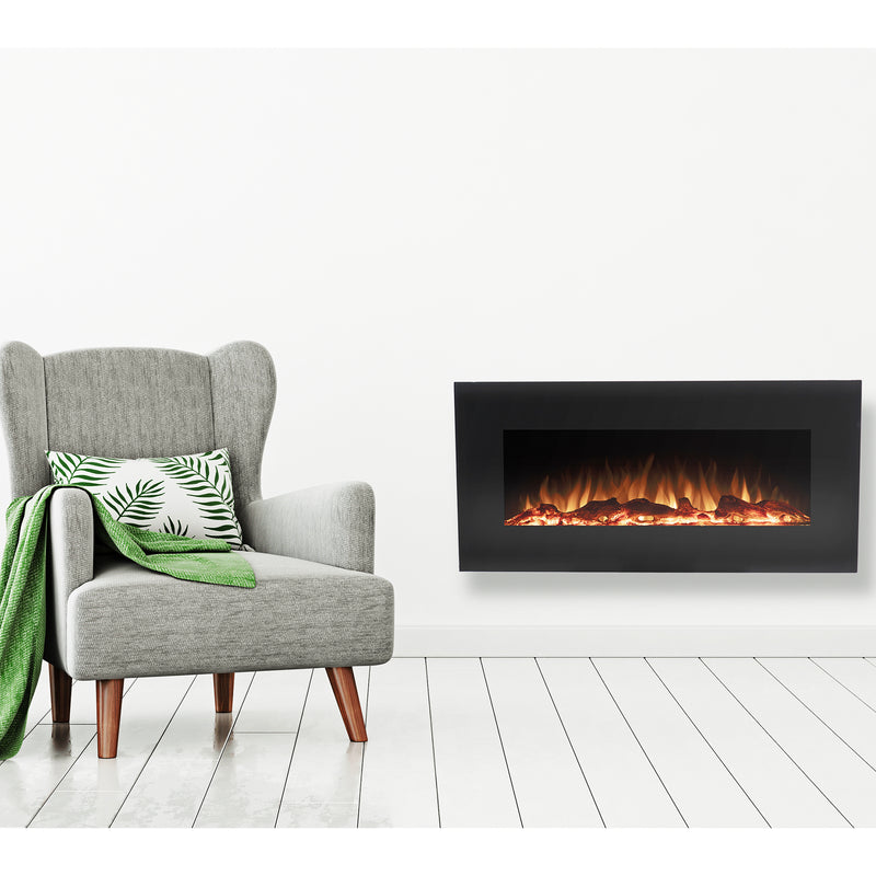 firefly led wall mounted electric fireplace with bluetooth speakers