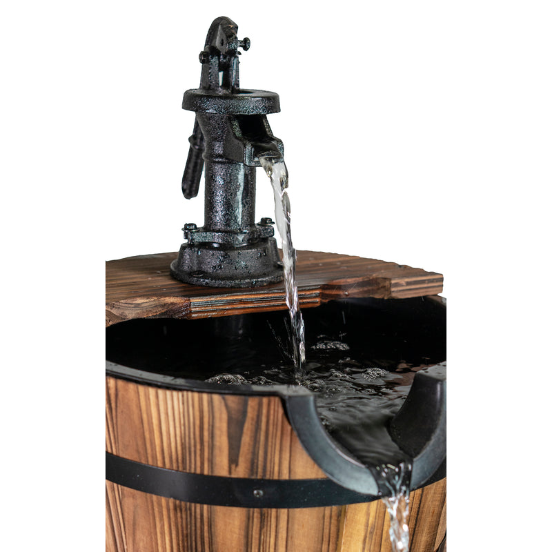Patio Premier Deluxe Two Tiered Cascading Wood Washtub Fountain - Eden Branch-Your Home & Garden Paradise