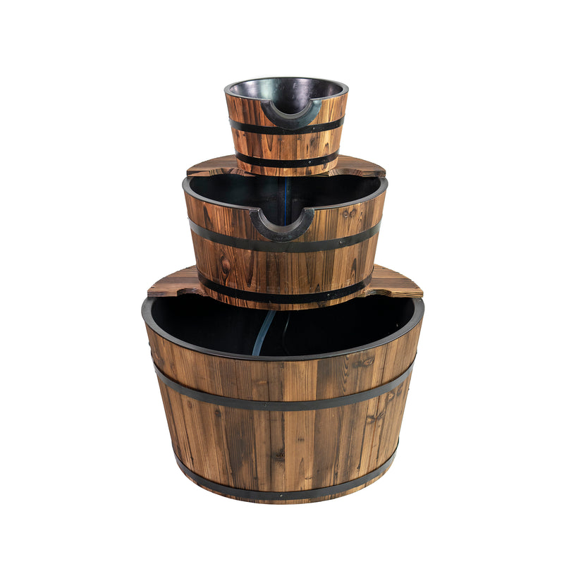 Patio Premier Three Tiered Cascading Wood Washtub Fountain - Eden Branch-Your Home & Garden Paradise